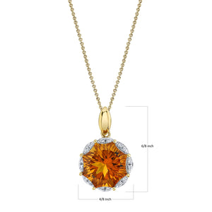 "TVON - 3.48Cts Snowflake Natural Citrine Gemstone and Diamond - Signature Design Pendant for Women in 14K Gold with Prong Setting  - FREE 18"" Sterling Silver Chain - P10205"