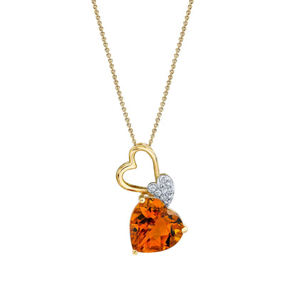 TVON - 2.32Cts Heart Checkerboard Natural Citrine Gemstone and Diamond - Heart Pendant for Women in 14K Gold with Prong Setting - P10393