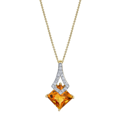 "TVON - 1.43Cts Princess Natural Citrine Gemstone and Diamond - Drop Pendant for Women in 14K Gold with Prong Setting  - FREE 18"" Sterling Silver Chain - P10397"