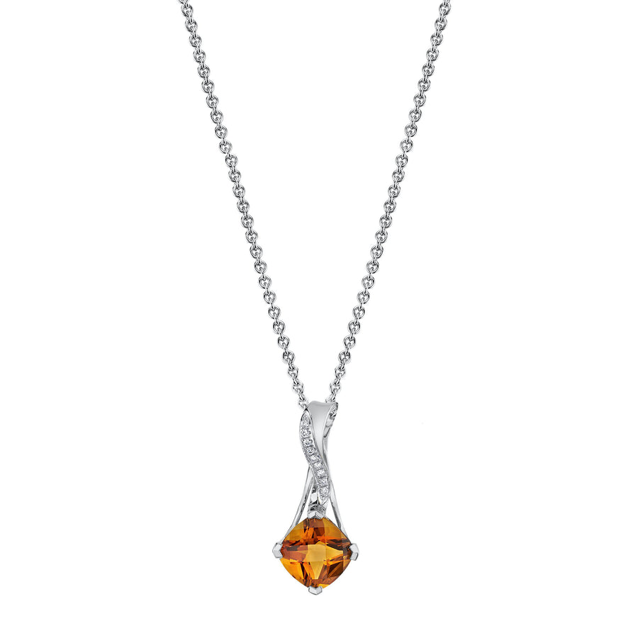 14K 1.69 Cts Citrine 0.04 Cttw VS Diamond Pendant