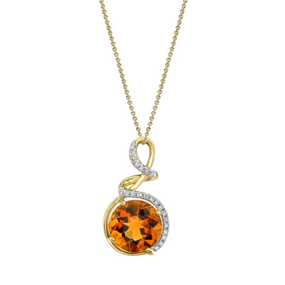 "TVON - 2.17Cts Round Natural Citrine Gemstone and Diamond - Halo Pendant for Women in 14K Gold with Prong Setting - FREE 18"" Sterling Silver Chain - P10434"