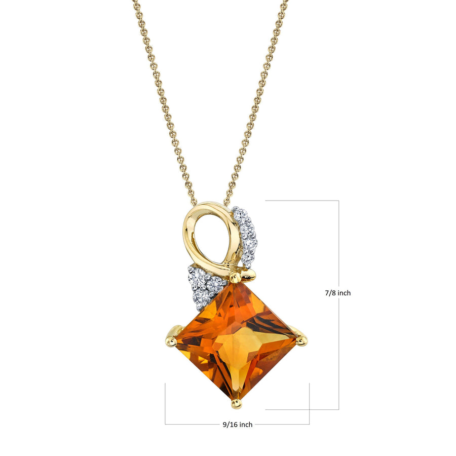 "TVON - 2.84Cts Princess Natural Citrine Gemstone and Diamond - Solitaire Pendant for Women in 14K Gold with Prong Setting - FREE 18"" Sterling Silver Chain - P10460"