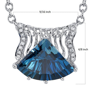 14K 3.17 Cts London Blue Topaz 0.06 Cttw VS Diamond Pendant