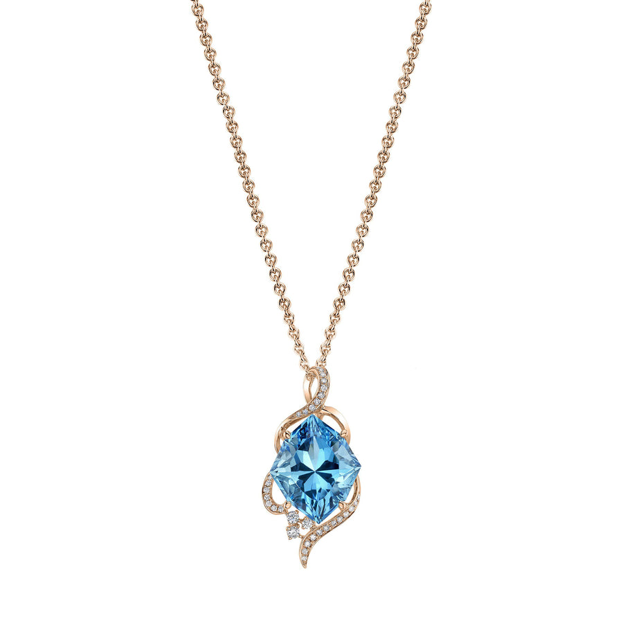 14K 13.03 Cts Swiss Blue Topaz 0.22 Cttw VS Diamond Pendant - TVON.com
