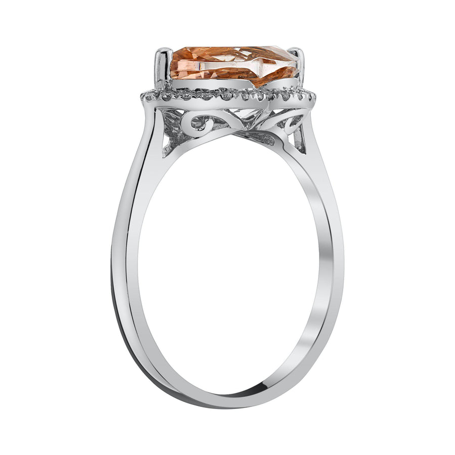 14K 2.11 Cts Morganite 0.15 Cttw VS Diamond Ring - TVON.com