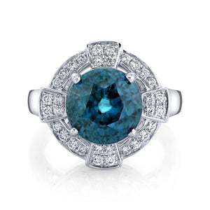 TVON - 8.28Cts Round Natural Blue Zircon Gemstone and Diamond - Vintage Ring for Women in 14K Gold with Prong Setting - SR11089 - 1