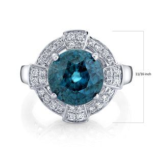 TVON - 8.28Cts Round Natural Blue Zircon Gemstone and Diamond - Vintage Ring for Women in 14K Gold with Prong Setting - SR11089 - 3