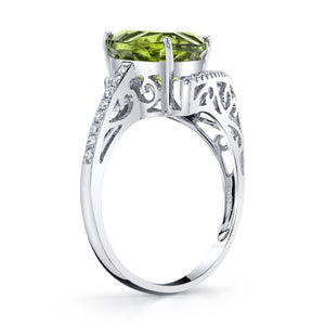 TVON - 3.33Cts Trillion Concave Natural Peridot Gemstone and Diamond - Signature Design Ring for Women in 14K Gold with Prong Setting - R10143 - 2
