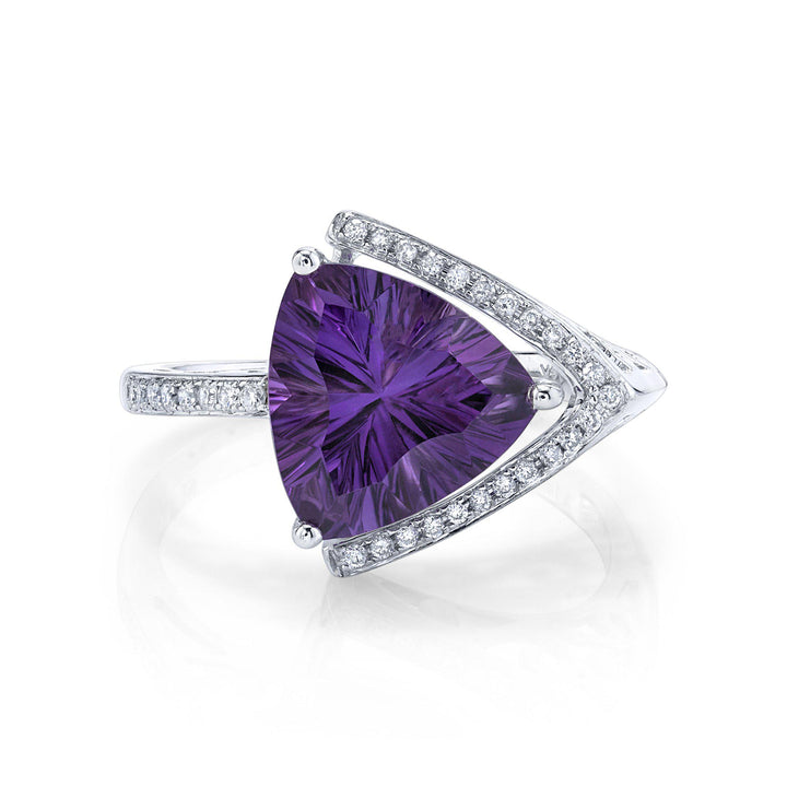 TVON - 2.93Cts Trillion Concave Natural Amethyst Gemstone and Diamond - Signature Design Ring for Women in 14K Gold with Prong Setting - R10143 - 1