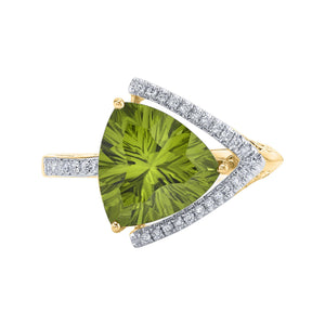 TVON - 3.33Cts Trillion Concave Natural Peridot Gemstone and Diamond - Signature Design Ring for Women in 14K Gold with Prong Setting - R10143 - 6