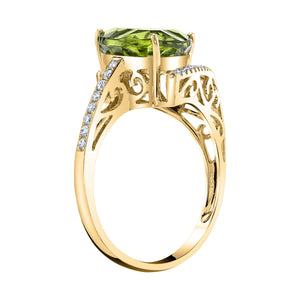 TVON - 3.33Cts Trillion Concave Natural Peridot Gemstone and Diamond - Signature Design Ring for Women in 14K Gold with Prong Setting - R10143 - 7