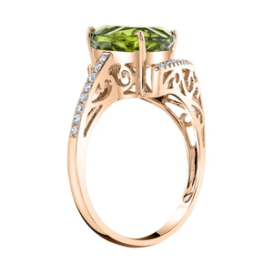 TVON - 3.33Cts Trillion Concave Natural Peridot Gemstone and Diamond - Signature Design Ring for Women in 14K Gold with Prong Setting - R10143 - 9