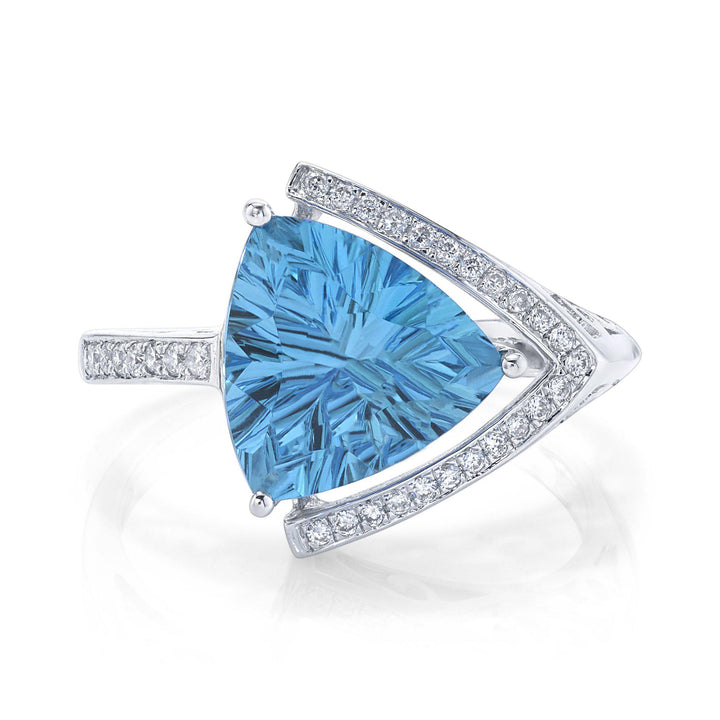 TVON - 3.81Cts Trillion Concave Natural Swiss Blue Topaz Gemstone and Diamond - Signature Design Ring for Women in 14K Gold with Prong Setting - R10143 - 1