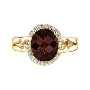 TVON - 3.15Cts Oval Checkerboard Natural Garnet Gemstone and Diamond - Vintage Ring for Women in 14K Gold with Prong Setting - R10152