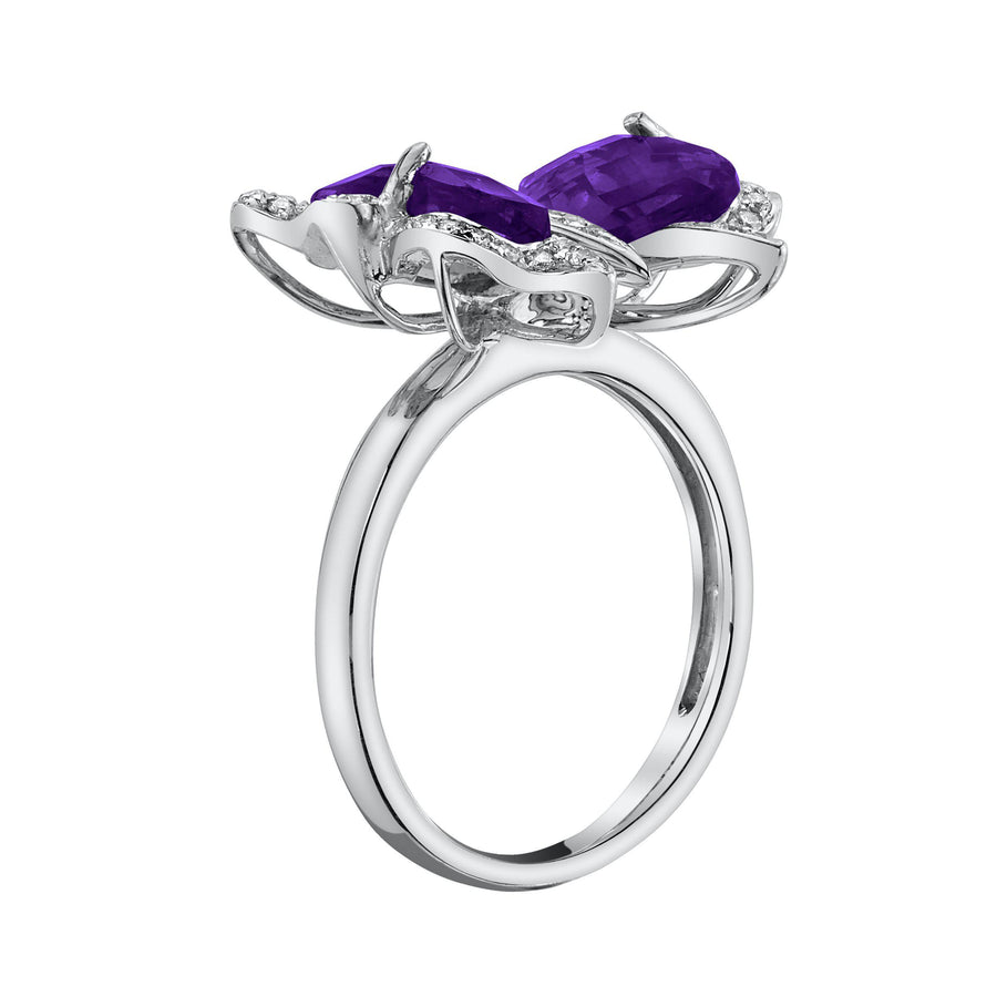 14K 3.02 Cts Amethyst 0.20 Cttw VS Diamond Ring