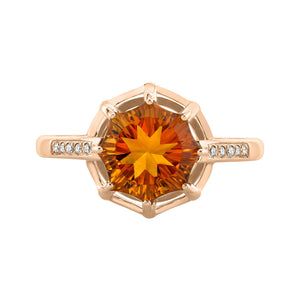 14K 2.70 Cts Citrine 0.05 Cttw VS Diamond Ring - TVON.com