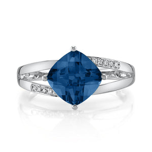 14K 2.37 Cts London Blue Topaz 0.06 Cttw VS Diamond Ring