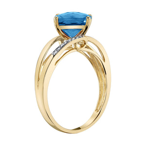 14K 2.37 Cts London Blue Topaz 0.06 Cttw VS Diamond Ring - TVON.com