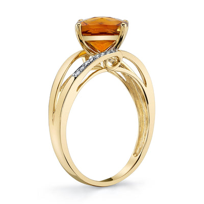 TVON - 1.69Cts Anticushion Checkerboard Natural Citrine Gemstone and Diamond - Solitaire Ring for Women in 14K Gold with Prong Setting - R10295