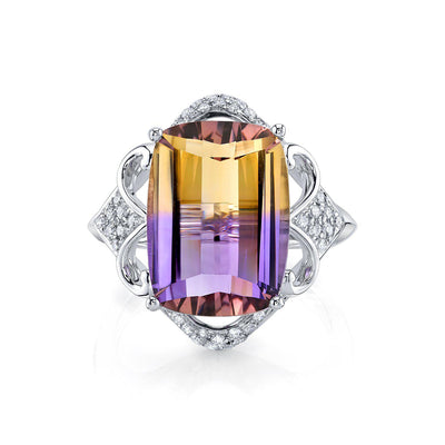 TVON -8.07Cts Roll Top Cushion Shape Natural Ametrine GemStone and Diamond - Vintage Ring for Women in 14K Gold with Prong Setting