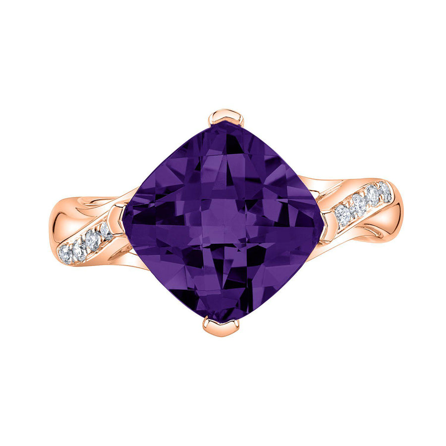 14K 3.67 Cts Amethyst 0.09 Cttw VS Diamond Ring - TVON.com