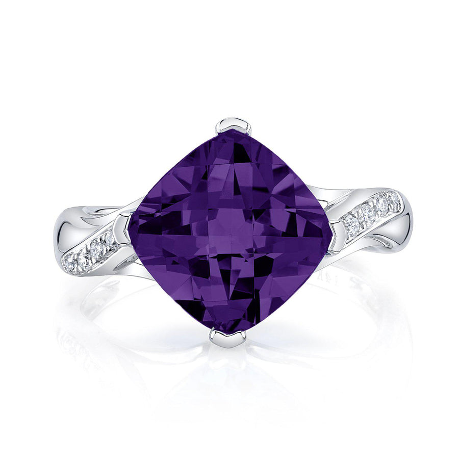 14K 3.67 Cts Amethyst 0.09 Cttw VS Diamond Ring