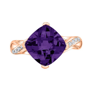 TVON - 3.67Cts Anticushion Checkerboard Natural Amethyst Gemstone and Diamonds - Solitaire Ring for Women in 14K Gold with Prong Setting - R10330 - 4