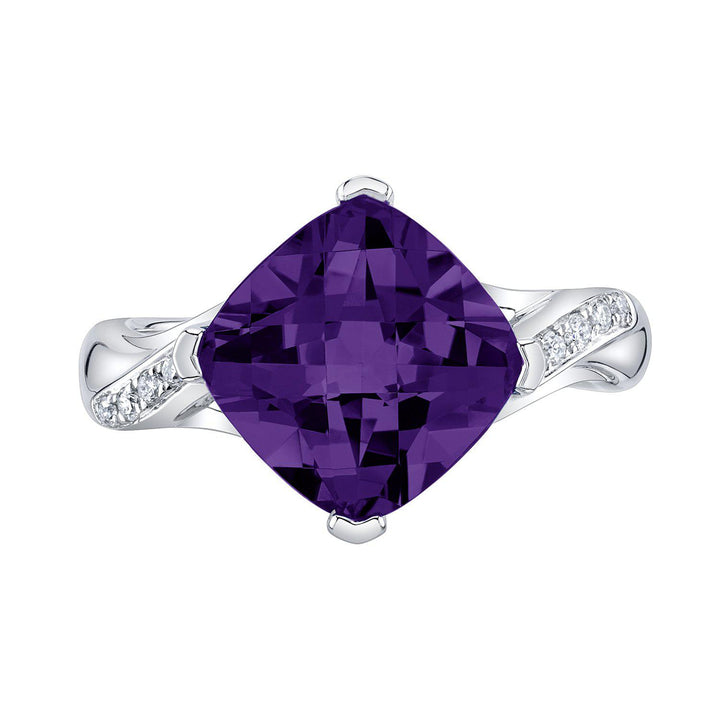TVON - 3.67Cts Anticushion Checkerboard Natural Amethyst Gemstone and Diamonds - Solitaire Ring for Women in 14K Gold with Prong Setting - R10330 - 6