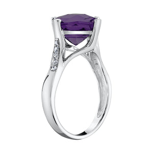 TVON - 3.67Cts Anticushion Checkerboard Natural Amethyst Gemstone and Diamonds - Solitaire Ring for Women in 14K Gold with Prong Setting - R10330 - 7