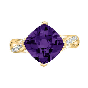 TVON - 3.67Cts Anticushion Checkerboard Natural Amethyst Gemstone and Diamonds - Solitaire Ring for Women in 14K Gold with Prong Setting - R10330 - 8