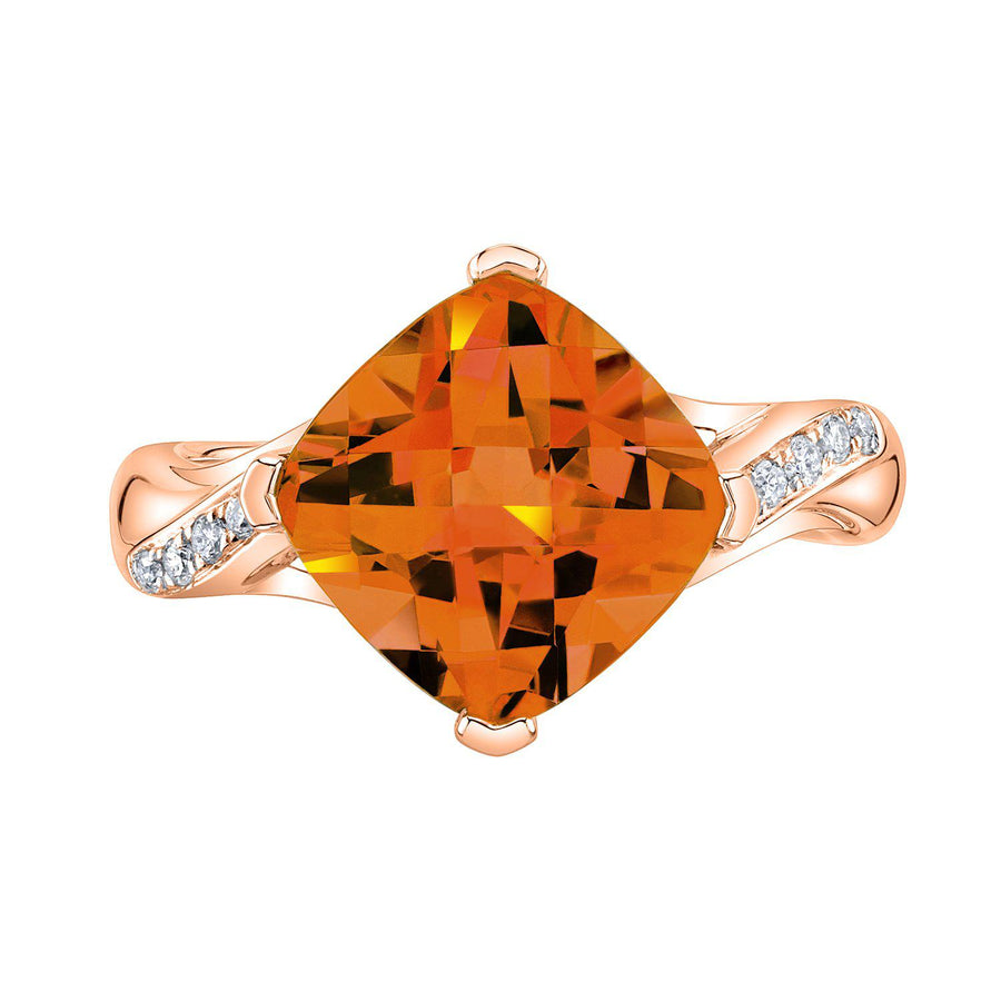 TVON - 3.67Cts Anticushion Checkboard Natural Citrine Gemstone and Diamonds - Solitaire Ring for Women in 14K Gold with Prong Setting - R10330 - 4
