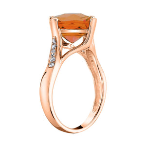 TVON - 3.67Cts Anticushion Checkboard Natural Citrine Gemstone and Diamonds - Solitaire Ring for Women in 14K Gold with Prong Setting - R10330 - 5