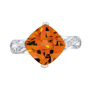 TVON - 3.67Cts Anticushion Checkboard Natural Citrine Gemstone and Diamonds - Solitaire Ring for Women in 14K Gold with Prong Setting - R10330 - 6