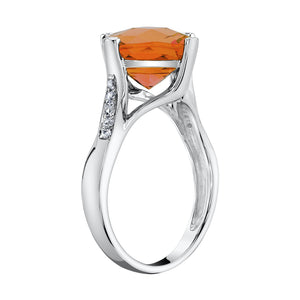 TVON - 3.67Cts Anticushion Checkboard Natural Citrine Gemstone and Diamonds - Solitaire Ring for Women in 14K Gold with Prong Setting - R10330 - 7