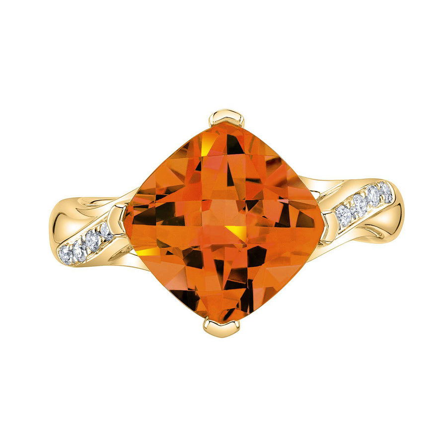 TVON - 3.67Cts Anticushion Checkboard Natural Citrine Gemstone and Diamonds - Solitaire Ring for Women in 14K Gold with Prong Setting - R10330 - 8