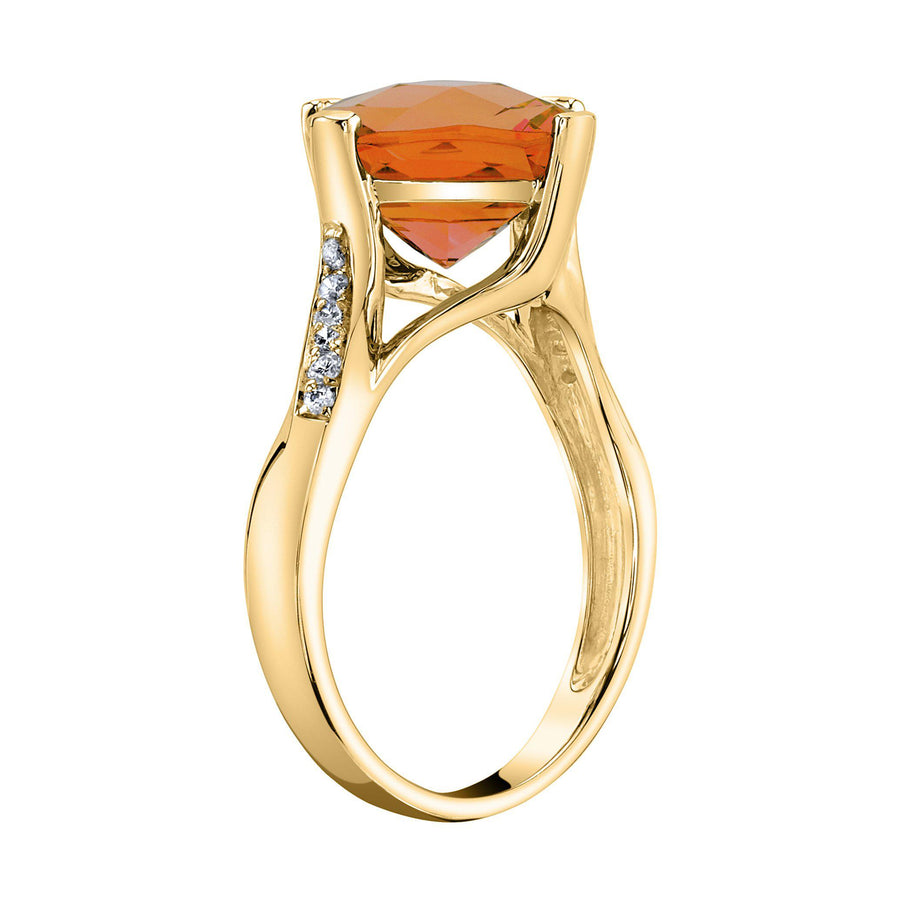 TVON - 3.67Cts Anticushion Checkboard Natural Citrine Gemstone and Diamonds - Solitaire Ring for Women in 14K Gold with Prong Setting - R10330 - 9