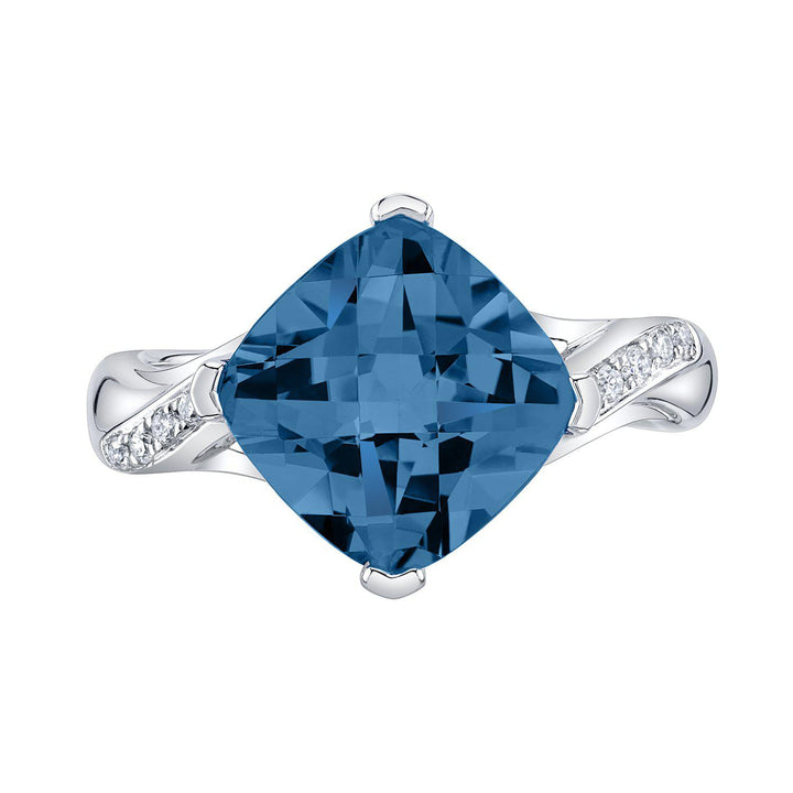 TVON - 3.67Cts Anticushion Checkerboard Natural London Blue Topaz Gemstone and Diamonds - Solitaire Ring for Women in 14K Gold with Prong Setting - R10330LBT - 6