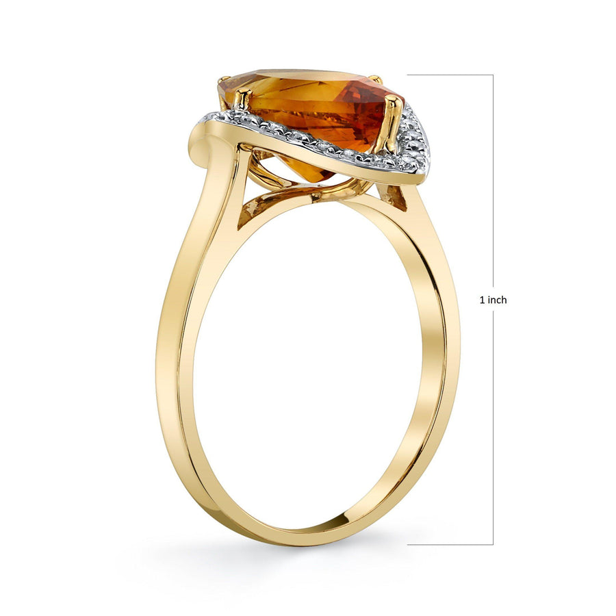 TVON - 2.85 Cts Marquise Natural Citrine Gemstone and Diamonds - Vintage Ring for Women in 14K Gold with Prong Setting - R10380 - 2