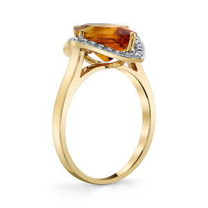 TVON - 2.85 Cts Marquise Natural Citrine Gemstone and Diamonds - Vintage Ring for Women in 14K Gold with Prong Setting - R10380 - 9