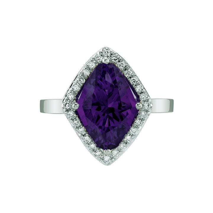TVON - 2.85Cts Marquise Natural Amethyst Gemstone and Diamonds - Vintage Ring for Women in 14K Gold with Prong Setting - R10380 - 6