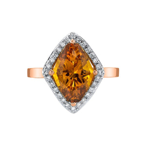 TVON - 2.85 Cts Marquise Natural Citrine Gemstone and Diamonds - Vintage Ring for Women in 14K Gold with Prong Setting - R10380 - 4