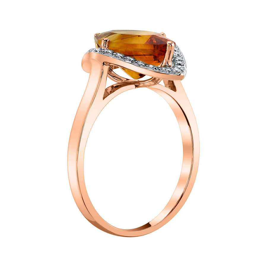 TVON - 2.85 Cts Marquise Natural Citrine Gemstone and Diamonds - Vintage Ring for Women in 14K Gold with Prong Setting - R10380 - 5