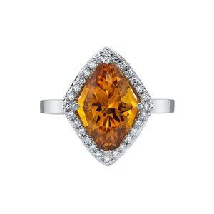 TVON - 2.85 Cts Marquise Natural Citrine Gemstone and Diamonds - Vintage Ring for Women in 14K Gold with Prong Setting - R10380 - 6
