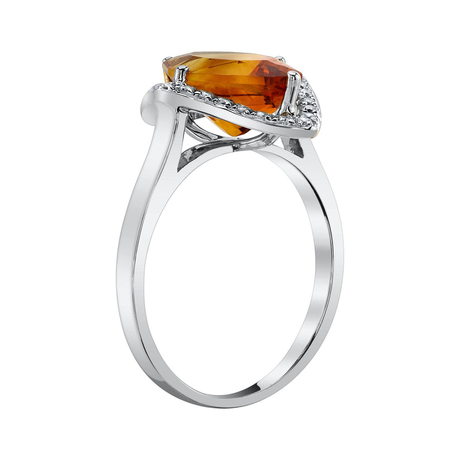 TVON - 2.85 Cts Marquise Natural Citrine Gemstone and Diamonds - Vintage Ring for Women in 14K Gold with Prong Setting - R10380 - 7