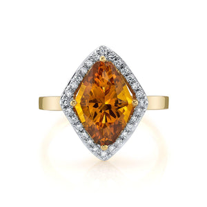 TVON - 2.85 Cts Marquise Natural Citrine Gemstone and Diamonds - Vintage Ring for Women in 14K Gold with Prong Setting - R10380 - 8