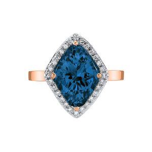 TVON - 3.6Cts Marquise Natural London Blue Topaz Gemstone and Diamond - Vintage Ring for Women in 14K Gold with Prong Setting - R10380 - 4