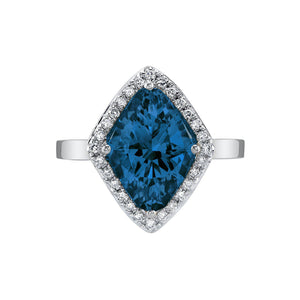 TVON - 3.6Cts Marquise Natural London Blue Topaz Gemstone and Diamond - Vintage Ring for Women in 14K Gold with Prong Setting - R10380 - 6