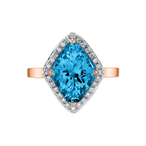 TVON - 3.6Cts Marquise Natural Swiss Blue Topaz Gemstone and Diamonds - Vintage Ring for Women in 14K Gold with Prong Setting - R10380 - 4
