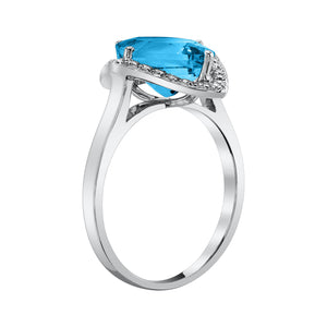 TVON - 3.6Cts Marquise Natural Swiss Blue Topaz Gemstone and Diamonds - Vintage Ring for Women in 14K Gold with Prong Setting - R10380 - 7