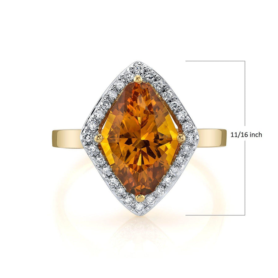 TVON - 2.85 Cts Marquise Natural Citrine Gemstone and Diamonds - Vintage Ring for Women in 14K Gold with Prong Setting - R10380 - 1